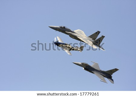 Cleveland - August 30:  U.S. Air Force Heritage Flight in formation over Cleveland, Ohio August 30, 2008. - stock photo