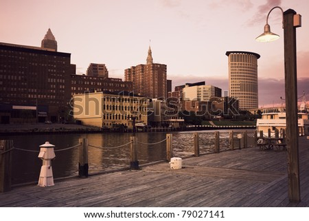 Cleveland during sunset - downtown seen accross Cuyahoga River - stock photo