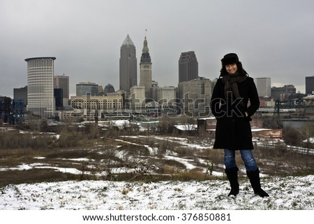Cleveland Girl enyoing winter in the city - stock photo