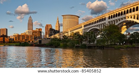 Cleveland. Image of Cleveland downtown skyline at sunset. - stock photo