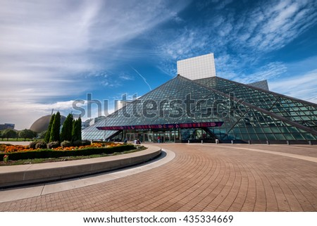 CLEVELAND - OCT 11:  The Rock and Roll Hall of Fame on lightly cloudy day.  The pyramid structure was designed by architct I.M. Pei, who also designed Musee Louvre. - stock photo
