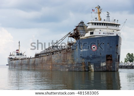 CLEVELAND, OH - September 6: The Algoway, a 44 year old bulk carrier owned by the Canadian company Algoma Central, enters the Cuyahoga River on September 6, 2016 at Cleveland, Ohio