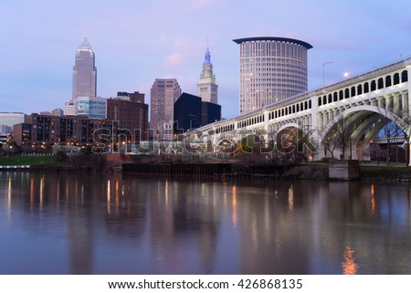 Cleveland Ohio Downtown City Skyline Cuyahoga River - stock photo