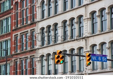 Cleveland, Ohio in the United States. Old architecture of famous Warehouse District. - stock photo