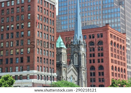 Cleveland, Ohio - old and new architecture. United States. - stock photo