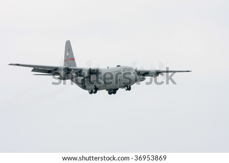 CLEVELAND, OHIO - SEPT. 6: a C-130 Hercules USAF cargo aircraft lands at the Cleveland National Airshow on Sept. 6, 2009 in Cleveland, Ohio.