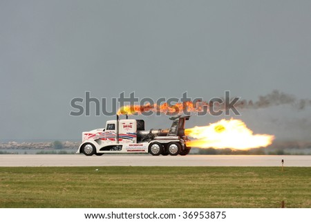 CLEVELAND, OHIO - SEPT. 6: The Shockwave jet engine semi truck at the Cleveland National Airshow on Sept. 6, 2009 in Cleveland, Ohio. - stock photo