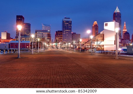 Cleveland, Ohio Skyline at Sunset from Voinovich Park.