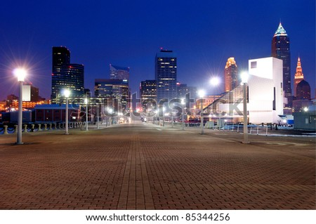 Cleveland, Ohio Skyline at Sunset from Voinovich Park. - stock photo
