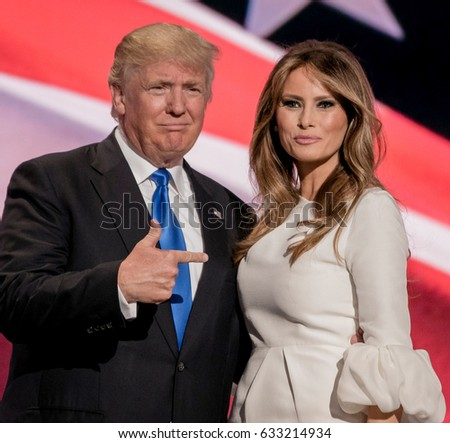 Cleveland, Ohio, USA, July 18Th, 2016  Presidential candidate Donald Trump and his Melania at the podium during the Republican National Convention in the Quicken Arena.