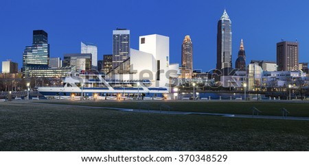 Cleveland panorama - winter evening from the marina - stock photo