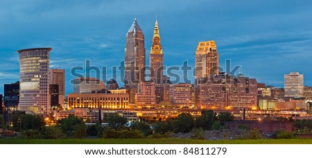 Cleveland. Panoramic image of Cleveland downtown at twilight blue hour. - stock photo