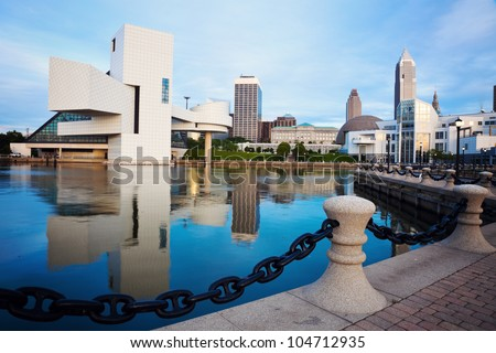 Cleveland seen morning time from the lakefront - stock photo
