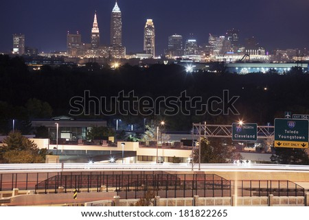 Cleveland skyline and highway 77 in the foreground - stock photo
