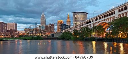 Cleveland skyline at twilight. - stock photo