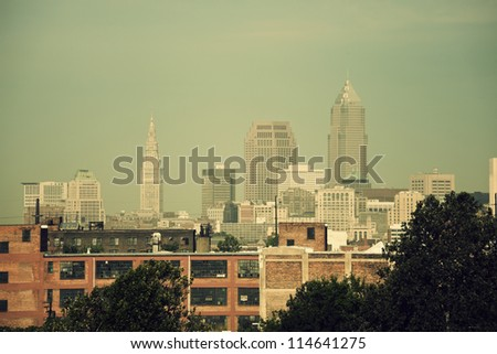 Cleveland skyline seen in the morning - stock photo