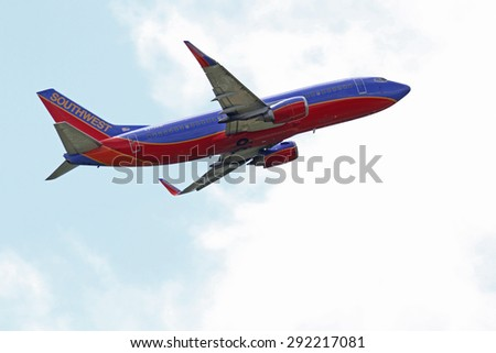 CLEVELAND, USA - JUNE 30, 2015: Southwest Airlines Boeing 737-3H4 at Cleveland Hopkins International Airport.