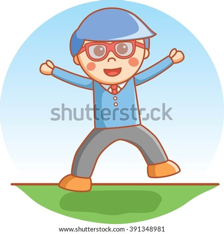 Clever boy happy jump - stock photo