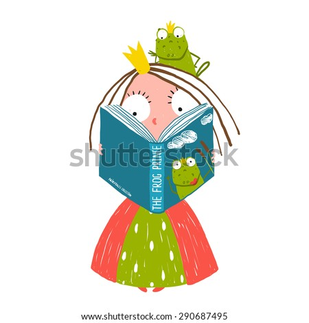 Clever Little Princess Reading Fairy Tale with Prince Frog Sitting on Head. Colorful fun childish hand drawn illustration for smart kids fairy tale. Raster variant. - stock photo