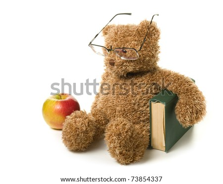 Clever teddy bear on a white background. - stock photo