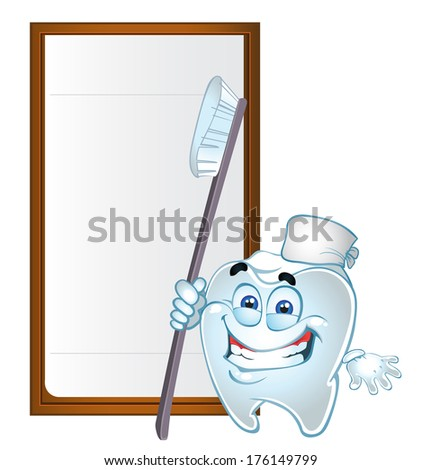 Clever tooth with text area and tooth brush - stock photo
