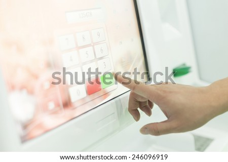 Click and input the digital number pad - stock photo
