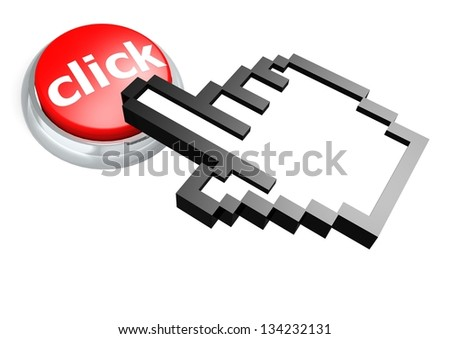 Click button with hand cursor - stock photo