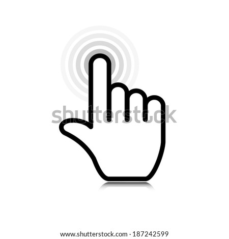 click. hand icon pointer.(rasterized version) - stock photo