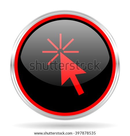 click here black and red metallic modern web design glossy circle icon - stock photo