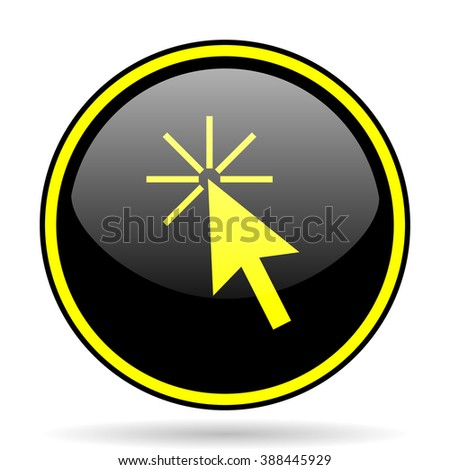 click here black and yellow modern glossy web icon - stock photo