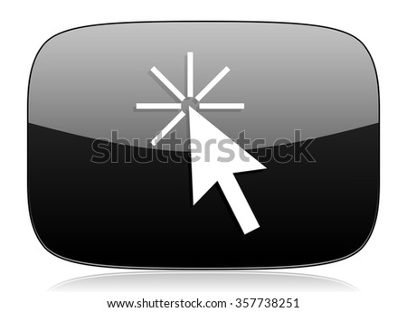click here black glossy web modern icon - stock photo