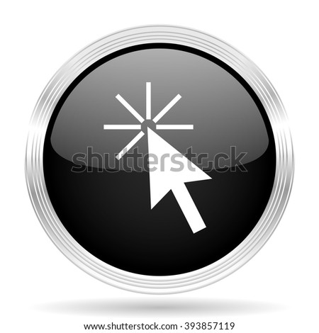 click here black metallic modern web design glossy circle icon - stock photo