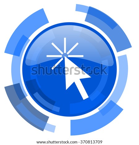 click here blue glossy circle modern web icon - stock photo