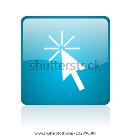 click here blue square web glossy icon - stock photo