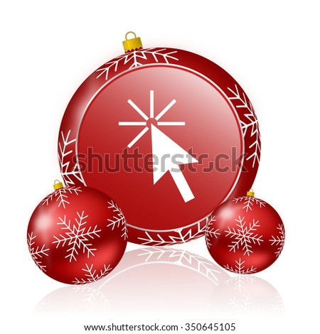 click here christmas icon - stock photo