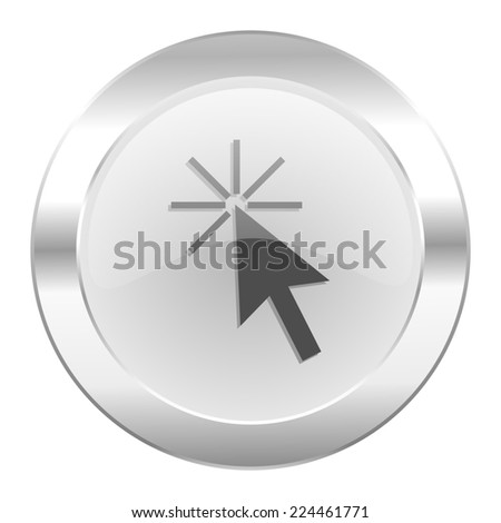 click here chrome web icon isolated  - stock photo