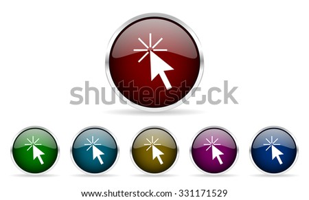 click here colorful glossy circle web icons set - stock photo