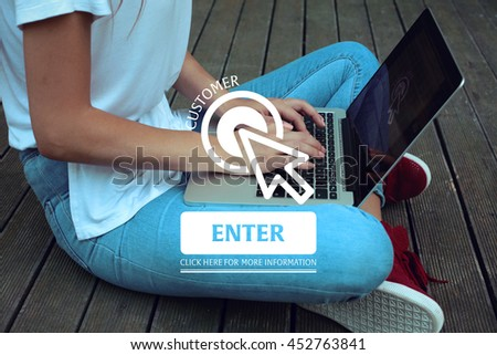 Click Here: Customer - Enter Click Here More Information - stock photo