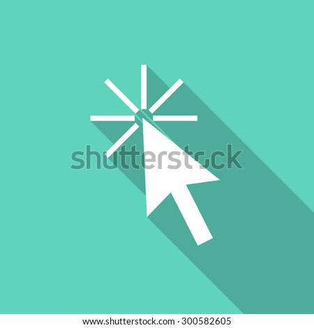click here flat design modern icon with long shadow for web and mobile app  - stock photo