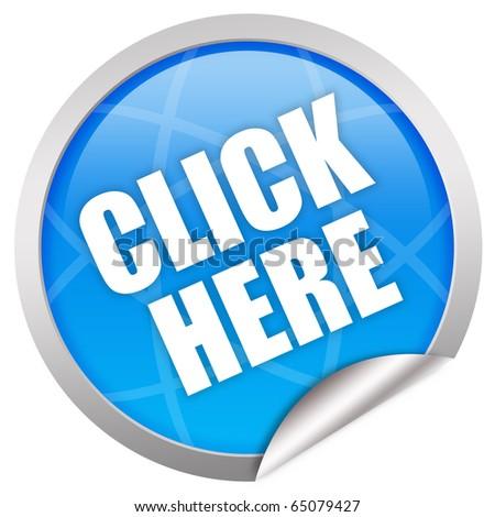 Click here glass icon - stock photo