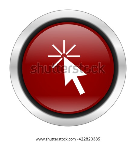 click here icon, red round button isolated on white background, web design illustration