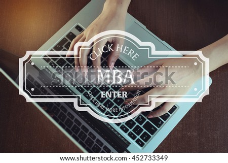 Click Here: Mba - Enter Click Here More Information - stock photo