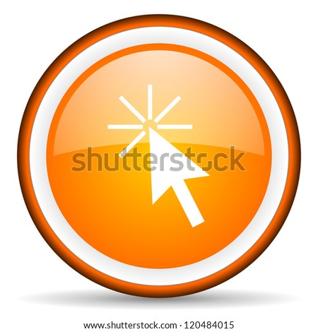 click here orange glossy circle icon on white background - stock photo