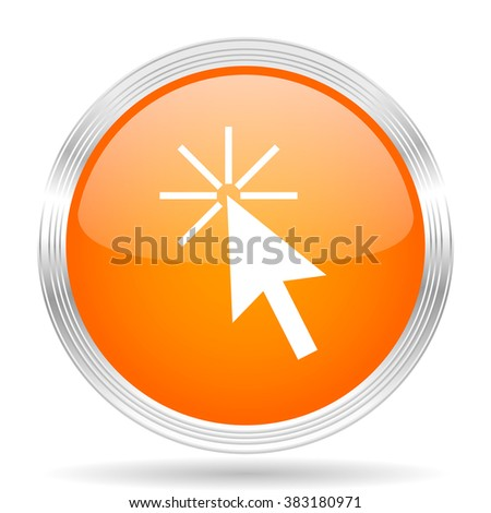 click here orange silver metallic chrome web circle glossy icon