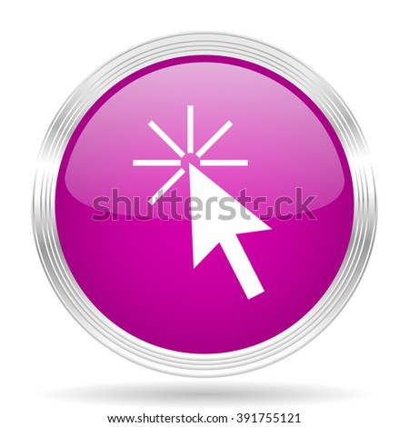 click here pink modern web design glossy circle icon