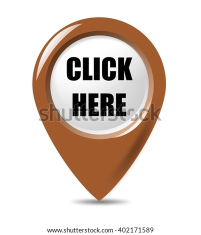 Click Here - promotional pointer button on white background. - stock photo