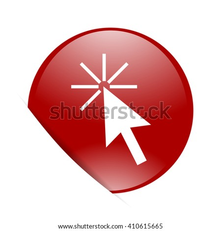 click here red circle glossy web icon - stock photo