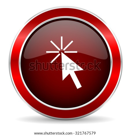 click here red circle glossy web icon, round button with metallic border - stock photo