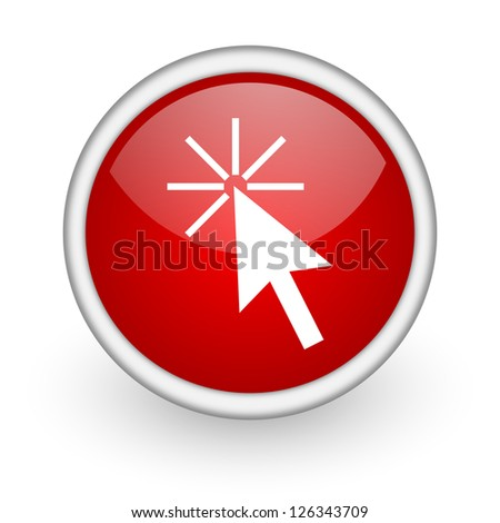 click here red circle web icon on white background