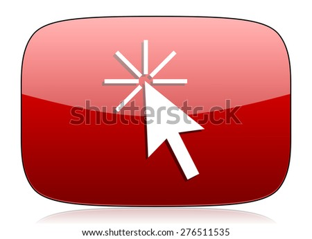 click here red glossy web icon  - stock photo